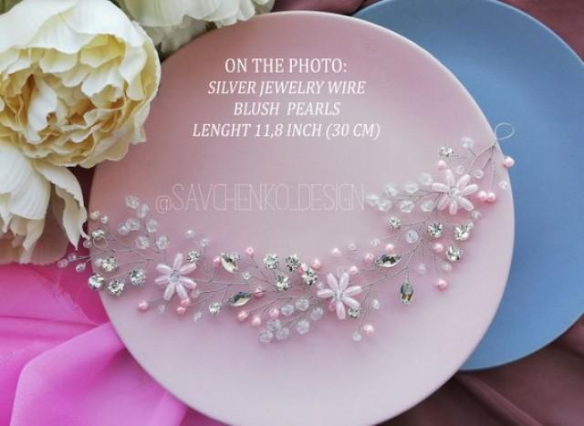 wedding photo - Blush Bridal Long hair vine Crystal and Pearl Bohemian bridal halo headpiece Bridal Jewelry thin flower crown