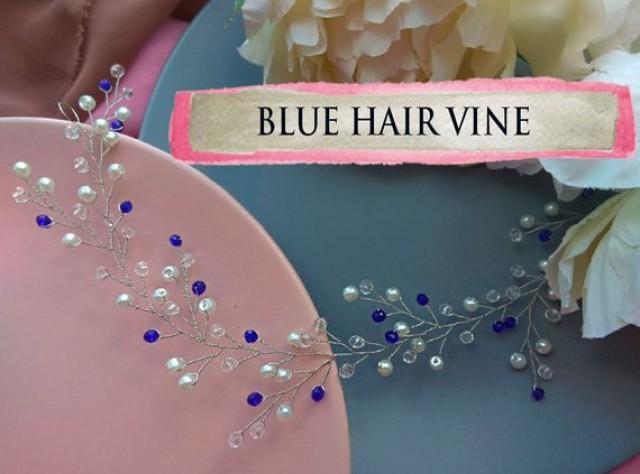 wedding photo - Something Blue hair vine for bride Bridal headpiece Braut haarkamm Royal blue wedding hair vine Bohemian bridal headpiece Beach wedding