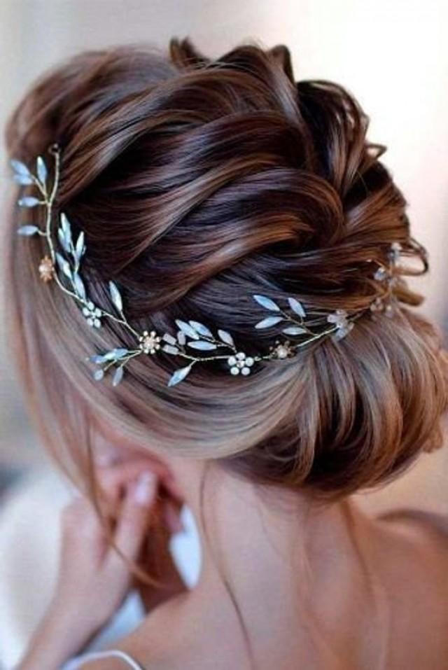 wedding photo - White opal Vine Headband Opal crystals bridal wreath Opal Crystal Hair Vine Boho Head Piece Bohemian Gold Wedding Headpiece bohemian style