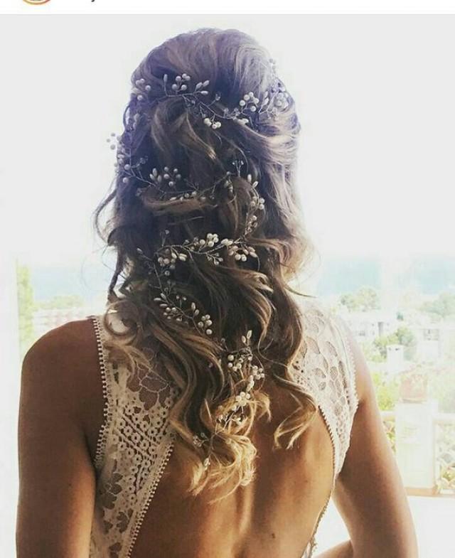 wedding photo - Extra Long bridal Hair Vine rose gold Braut Haarschmuck babys breath hair piece Headband Bohemian Bridal hair vine Pearl Crystal Hair Vine