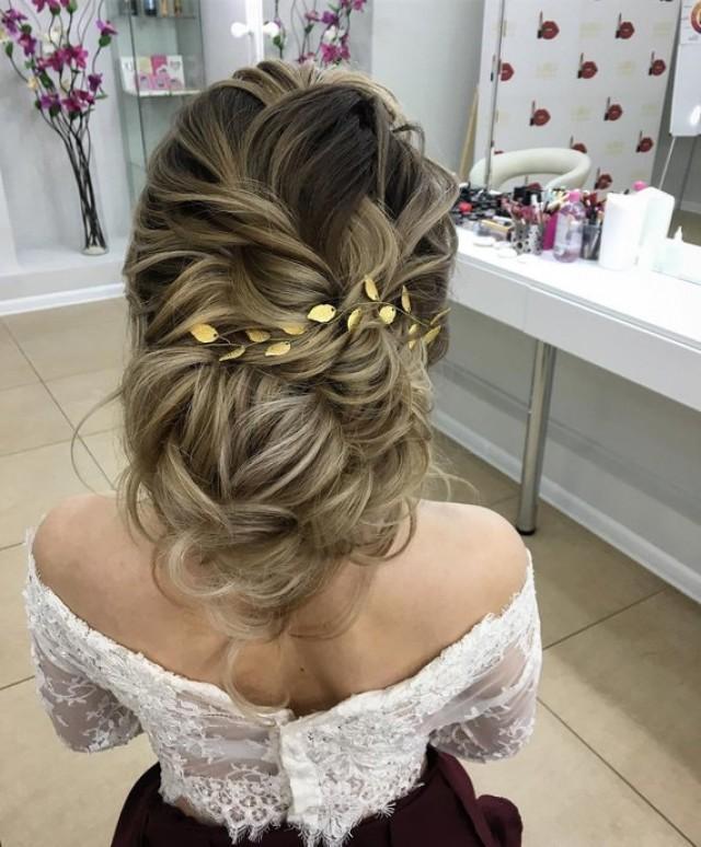 wedding photo - Gold leaf hair vine Tocado de novia Delicate bridal headband Gold Boho Halo Bridal gold crown Wedding headband Bridal Leaf Tiara headban