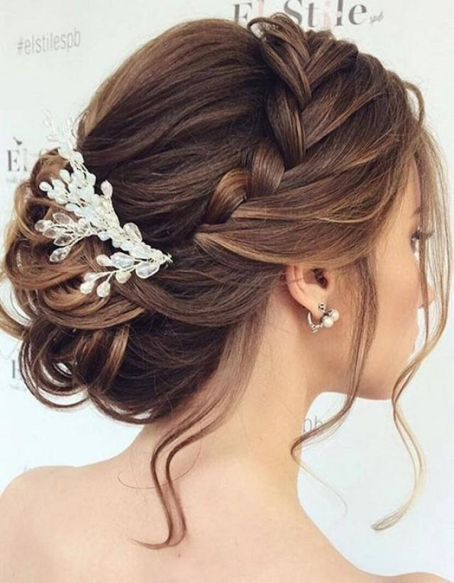 wedding photo - Bridal hair comb gold winter Boho wedding Bridal hair vine Baby breath hair piece for bride