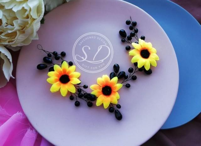 wedding photo - Black Sunflower flower crown Sunflower headband,Black hair headpiece dark chocolate vine Flower Girl Wreath Sunflower Erin hair accessory