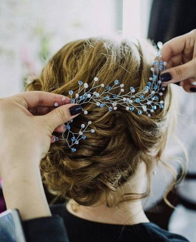 wedding photo - something Blue wedding hair accessories Mermaid tiara blue headpiece Beach Long Hairvine tocado moldeable novia braut haarschmuck blau gold