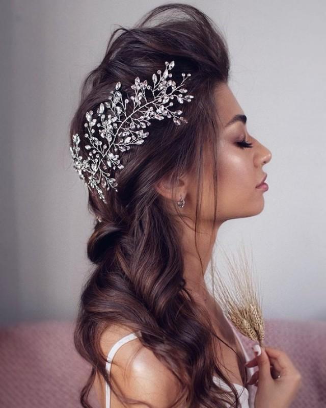 wedding photo - Swarovski crystal headband Wedding headband Bridal Hair Piece Bridal headband crystal wedding hair pieces for wedding bohemian headpiece
