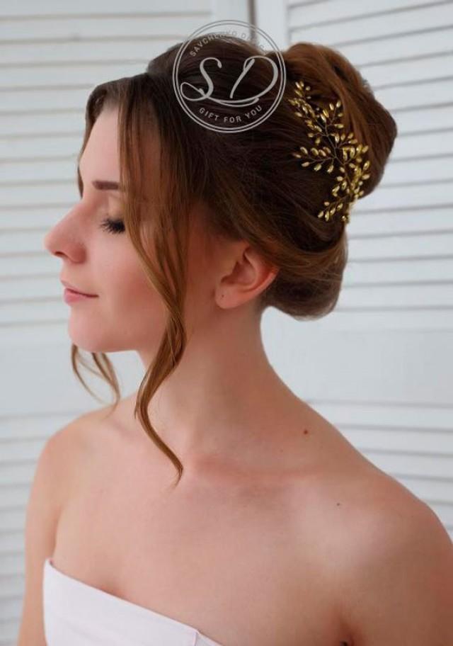 wedding photo - Gold bridal Hair Vine Brass Bridal Headpiece Head Jewelry for Brides Bridal pearl spray Wedding Hair Vine gold headpiece small hair piece