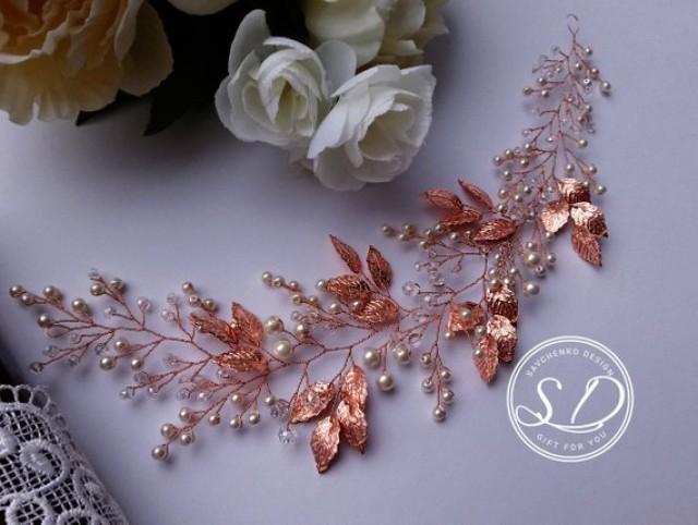 wedding photo - Rose gold Leaf Hair Vine Dainty beaded fern leaf hair vine Silver Leaf Bridal Hair Vine Crystal Hair Vine Crystal Leaf Headpiece Rose Gold