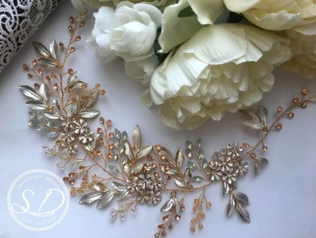wedding photo - Gold Bridal Headpiece White opal bridal flower hair vine Baroque accessories Wedding hair crown Couronne mariée Wedding Headband haarschmuck