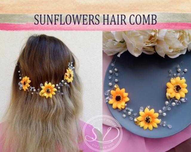 wedding photo - Large Yellow Sunflower hair vine sunflower flower girl hair piece Headband sunflower barrettes bridal sunflower wedding hair sunflower halo