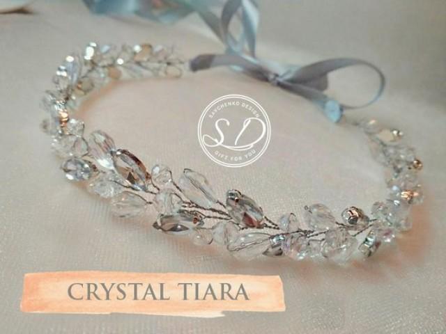 wedding photo - Crystal Wedding Tiara, Swarovski Crystal Crown, Wedding Hair Vine, Crystal bridal headband,Crystal hair headband, Rhinestone Bridal Crown
