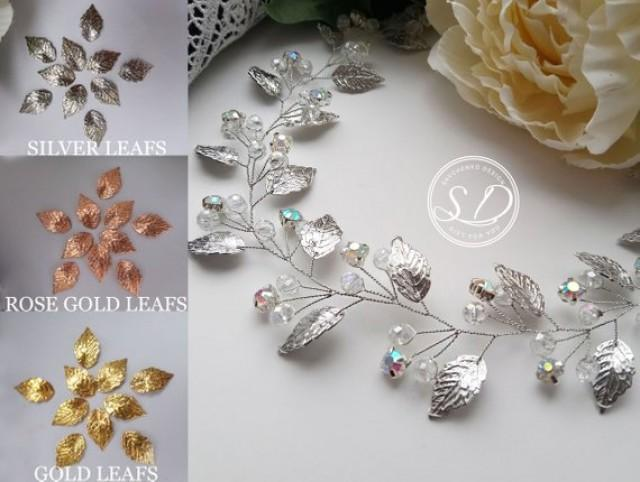 wedding photo - Silver leaf hair vine