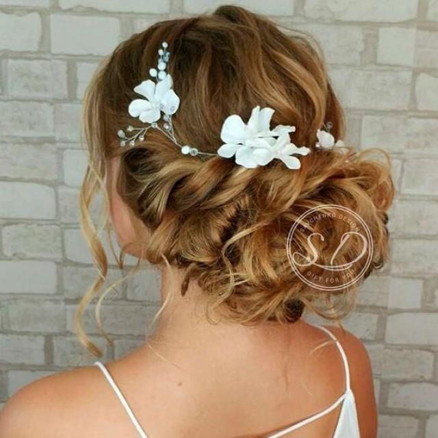 wedding photo - Beach Wedding hair vine Flower hair vine Nautical Wedding Headpiece Wedding flower crown Extra Long Bridal Hair Vine Beach Wedding HairPiece