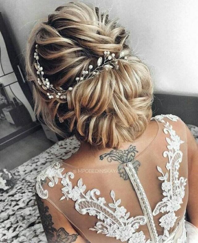wedding photo - Bridal hair vine Ella Hair Vine Braut haar rebe silber Haarschmuck Extra Long hair vine Babys breath hair piece Silver Tiara Beach wedding