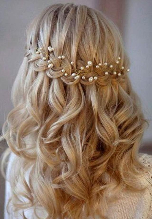 wedding photo - Bridal hair vine Rose gold hair vine Winter hair vine Babys breath hair piece Braut haarschmuck Tocado novia Bridal crown Tocado novia