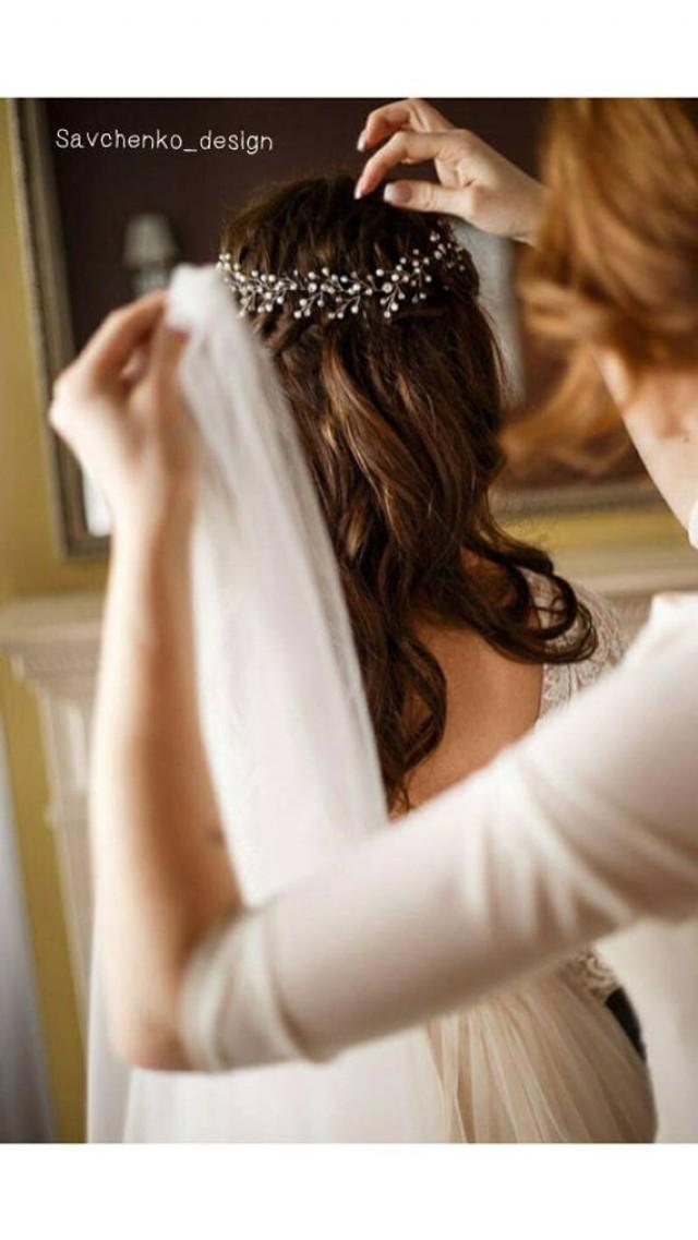 wedding photo - Bohemian bridal headpiece Silver Hair Vine with Swarovski Crystals Rose gold Pearl babys breath crown crystal bridal pearl hair vine
