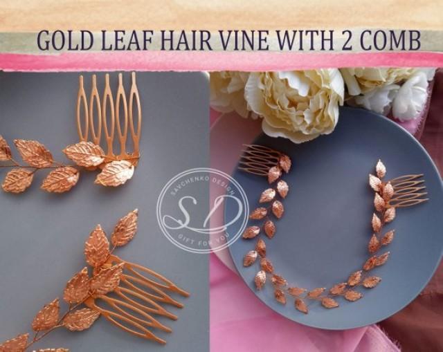 wedding photo - Bridal Hair Vine Rose Gold Leaf hair vine Wedding leafs Greek Hair Vine Rose Gold Leaf tiara headpiece Grecian Headpiece Bridal Hair Piece