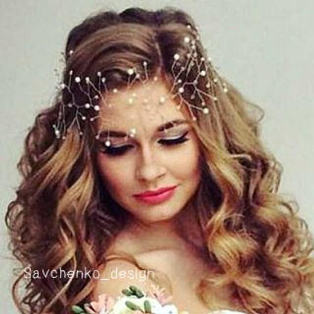 wedding photo - Purple Bridal Hair Vine Purple wedding hair accessory Bridal long headpiece Bridal Hair Vine Wedding hair-vine Crystals Bridal Wedding hair