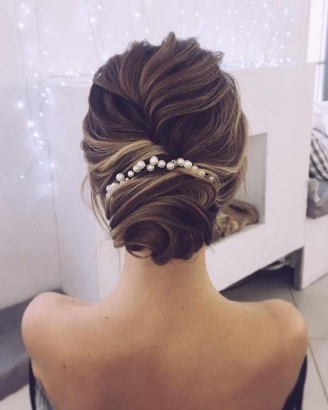 wedding photo - Bridal hair vine Pearl Headband Boho Bohemian Headpiece Extra long hair vine Haarschmuck Bridal headpiece Wedding hair piece Tocados novia