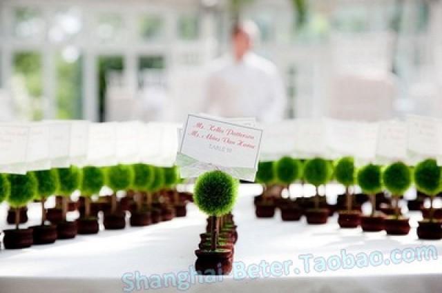 wedding photo - Beter Gifts®婚禮餐桌布置婚慶用品綠色小盆栽席位卡歐式結婚小物裝飾ZH017/A
