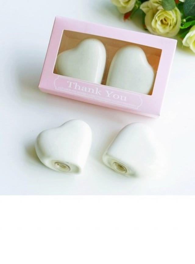 "wedding photo - Heart Shaped/Simple/""Sweet Heart"" Heart Shaped Ceramic Salt & Pepper Shakers (Set of 2)"