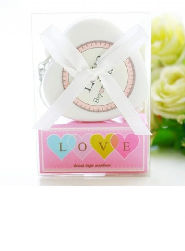 wedding photo - [US$ 1.99] Heart Tape Measure Keychain Baby Shower Favor - BeterWedding