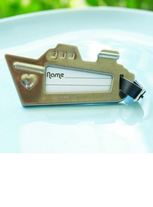 wedding photo - Seaside/Beach Theme Sail Boat Metal Luggage Tags With Ribbons (Sold in a single) - BeterWedding