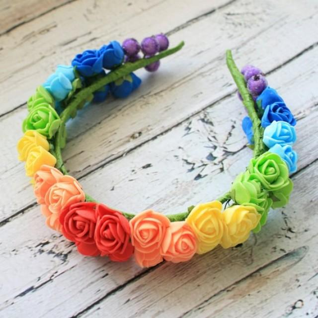 wedding photo - Rainbow flower crown Festival crown Boho wedding flower crown Bohemian hair crown Colorful hair crown Boho hairstyle Bridal hair piece