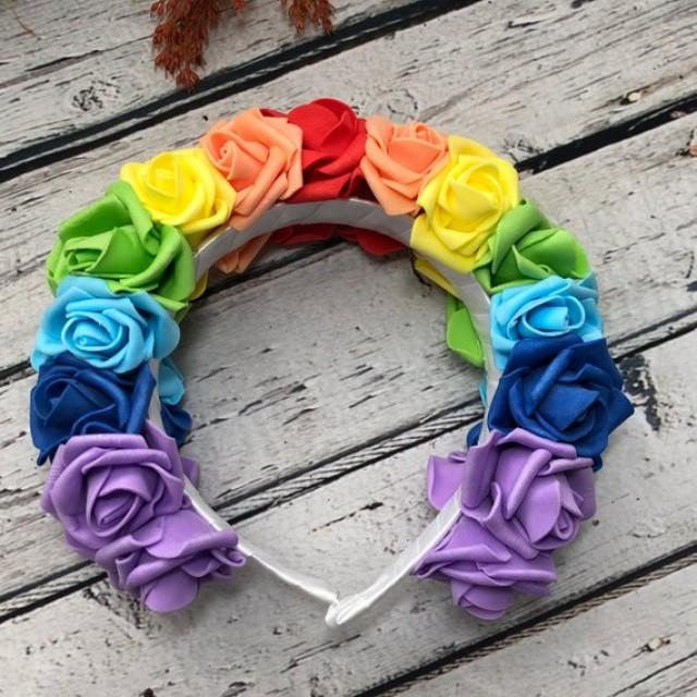 wedding photo - Rainbow flower crown Girls hair accessory Colorful hair piece Mermaid floral crown Rainbow wedding rose tiara Bridesmaid headpiece