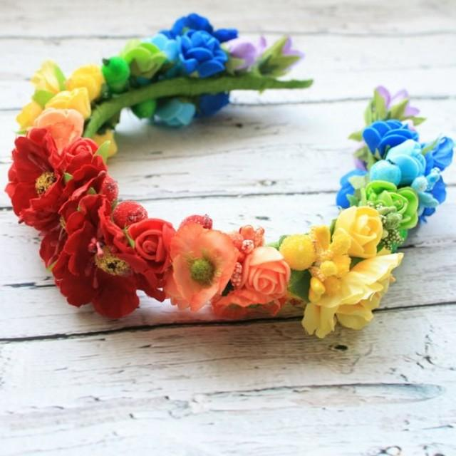 wedding photo - Rainbow flower hair crown Bridal hair piece Boho flower crown Bohemian hair crown Colorful hair crown Festival crown Boho hairstyle