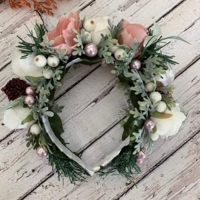 wedding photo - Winter bridal crown Wedding Halo Flower hair piece Woodland ivory flower crown Rustic hair crown Christmas hair accessory Fairy floral crown