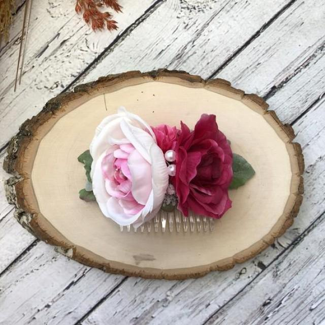 wedding photo - Blush pink rose hair comb Wedding flower comb Pretty hair comb Bridal headpiece Prom hair comb Rustic hair comb Bridesmaid comb Boho wedding