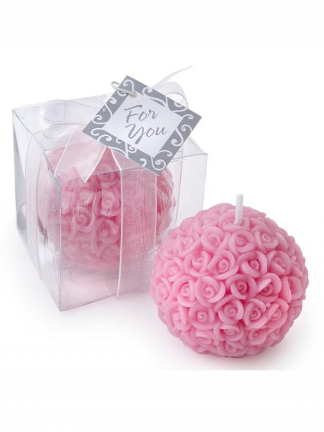 wedding photo - Betergifts Candle Romantic Pink Rose Flower Pattern Ball Shaped Home Decor