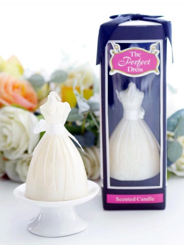 wedding photo - BeterGifts Wedding Dress Elegant Scented Tealight Candle Favor