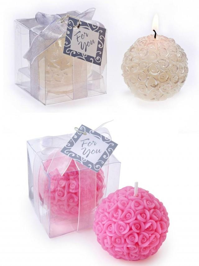 wedding photo - BeterGifts Bridal Shower Favor Rose Ball Tealight Candle Souvenir