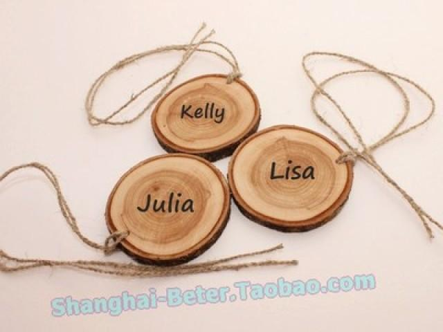 wedding photo - BeterGifts Rustic Wood Tag Place Card Holder Wedding Decoration ZH042