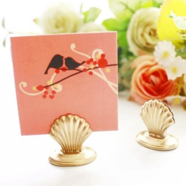 wedding photo - BeterGifts Wedding decor Shell Place Card Holder Party Bomboniere WJ025