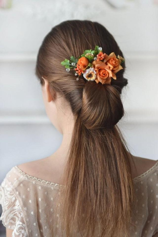 wedding photo - Rose hair comb orange flower head piece summer floral comb orange wedding summer hair back flowers bridesmaids hair peach bridal comb bright