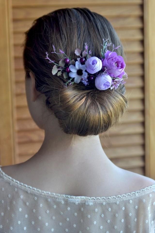 wedding photo - Purple flower comb Wedding headpiece Purple bridal comb Rustic wedding comb Hair accessories Flowers hair Woodland comb