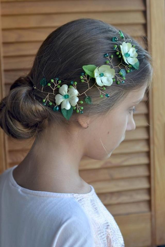 wedding photo - Green hair vine Emerald crystal hair back head piece Floral green vine leaves head wreath Emerald wedding piece back crown