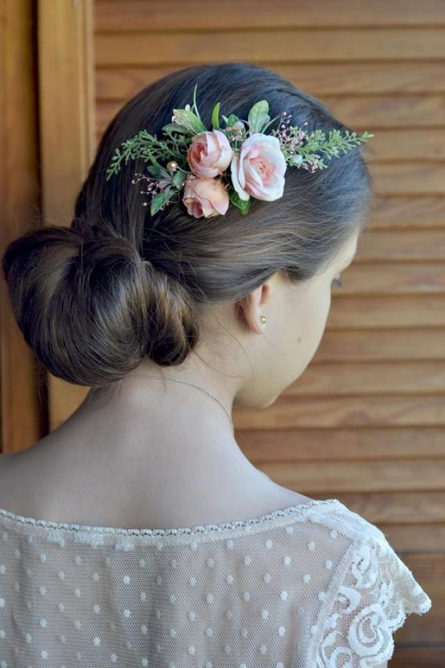 wedding photo - Blush flower comb Bride hair piece Blush ivory floral comb boutonniere groom Flowers wedding accessories Ivory headpiece comb Rose hair