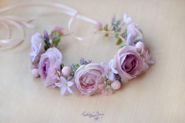 wedding photo - Bridal head wreath Blush purple wedding crown Ranunculus halo blush flowers wreath hair Bridal headband Ready to ship crown adult