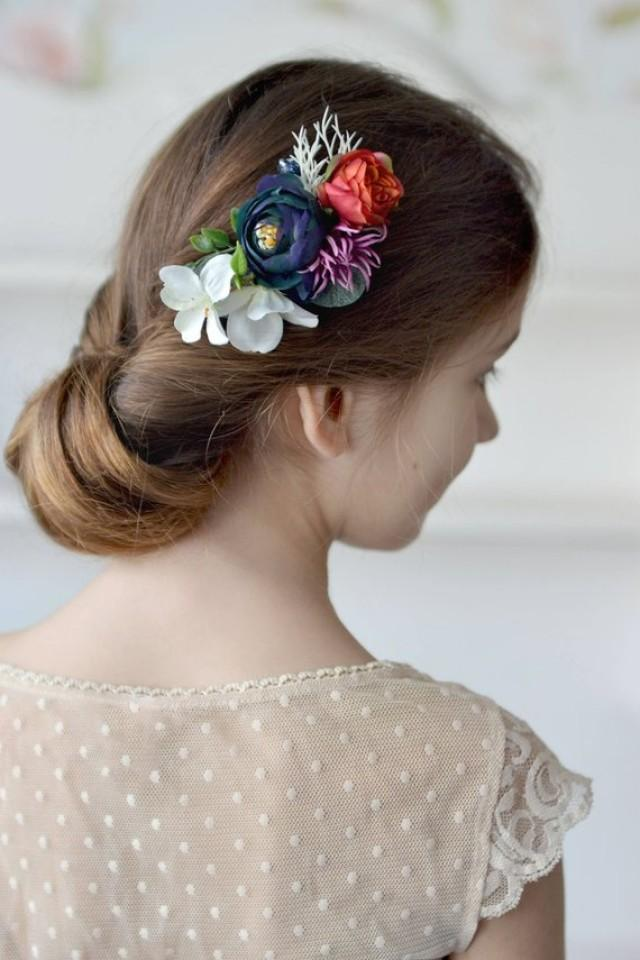 wedding photo - Woodland hair clip Spring apple blossom hair clip Woodland head piece Wedding hair clip blue red flowers Bridal hair prom flowers spring