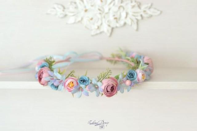 wedding photo - Pink blue flower crown wedding headband bridal hair wreath flowers turquoise head Flower Girl crown blue pink flowers hair Rustic halo