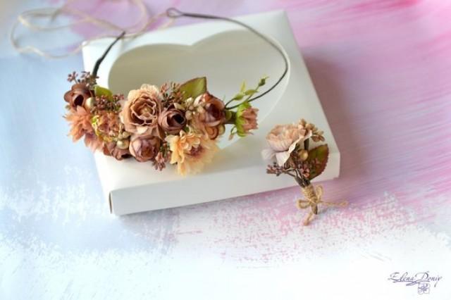 wedding photo - Beige flower headband Fall Man's boutonniere groom Beige Flower crown wedding halo Brown gold crown Autumn hair wreath Boho crown buttonhole