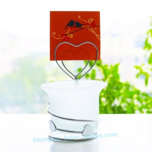 wedding photo - Beter Gifts®甜品台摆台小烛台欧美婚庆用品婚礼回礼小蜡烛席位卡夹WJ026