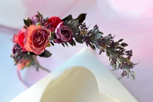 wedding photo - Pink purple flower headband Flower girl crown Bridal headband Flower crown adult Wedding floral crown Purple pink floral headband prom