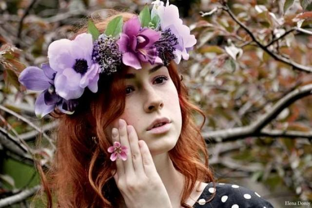 wedding photo - Boho wedding wreath Bridal Flower crown Orchid flower hair Wedding Purple floral headband Anemone floral crown Woodland wedding head wreath