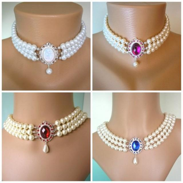 wedding photo - Swarovski Pearl Choker, Indian Wedding Choker, Pearl Bridal Necklace, Emerald, Opal, Sapphire, Ruby, Fuschia, White Pearls, Cream Pearls