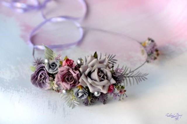 wedding photo - Gray purple flower crown Bridal floral set Wedding crown boutonniere grey silver purple Flower hair wreath Maternity crown bride halo roses