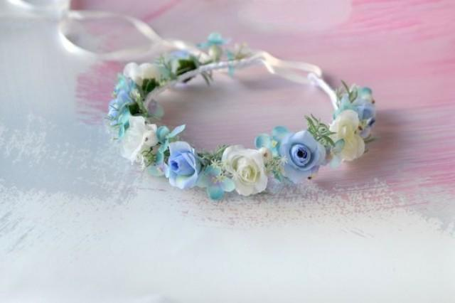 wedding photo - Blue flower girl crown Roses headband Wedding flower crown Blue floral crown Bridesmaids headpiece Blue white flower crown